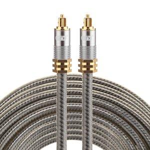 ETK Digital Optical kabel 10 meter / toslink audio male to male / Optische kabel metaal - Grijs