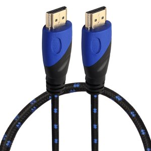 HDMI kabel 0.5 meter - HDMI 1.4 versie - High Speed - HDMI 19 Pin Male naar HDMI 19 Pin Male Connector Cable - Nylon blue line